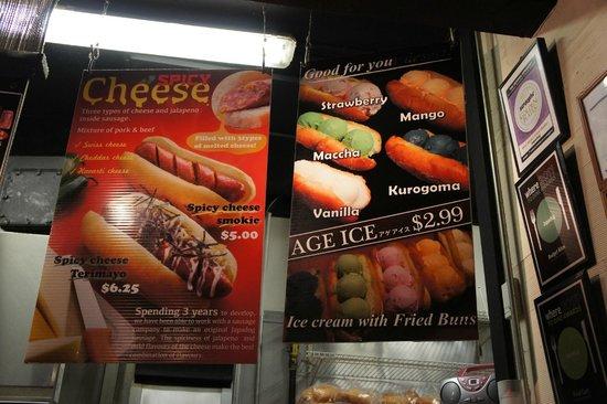 Japadog: menu