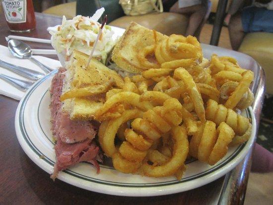 Brent's Delicatessen & Restaurant: Reuben's with curly fries and coleslaw