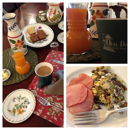 The Oval Door Bed and Breakfast Inn : Mushroom & Feta Scramble w/Canadian Bacon