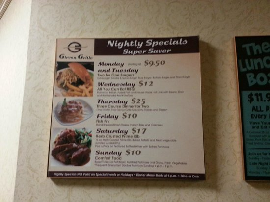 Girvan Grille: Daily Specials