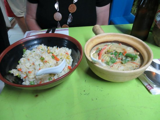 Chay's : Cantonese Fried Rice & Shrimp with green curry and coconut milk