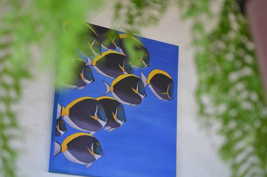 La Mariposa Hotel : Bright, colorful paintings throughout common areas