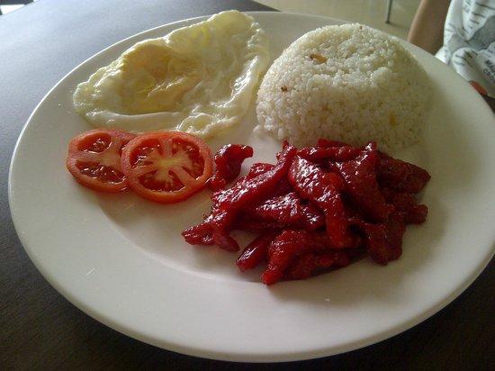 Belize Tagaytay Bed & Breakfast: my son's breakfast - tocino