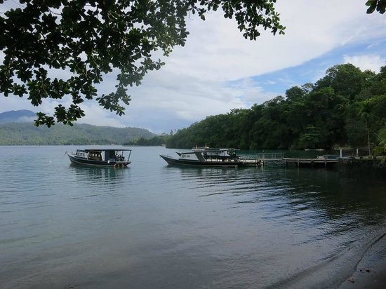 NAD-Lembeh Resort: View from dining area to pier and dive boats