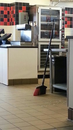 Jimmy Johns : The floor was dirty during the whole time we were there, 45 minutes. There was a broom right the