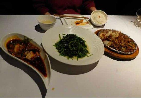 Zang Su FengGe Restaurant QianHai: Three of the five dishes. l - r, chicken, peashoots, lamb