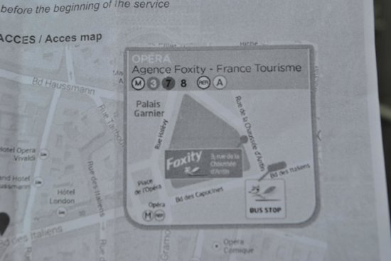 Foxity Bus Tours: The map with the stop indicated clearly. Just the bus doesn't pass there.