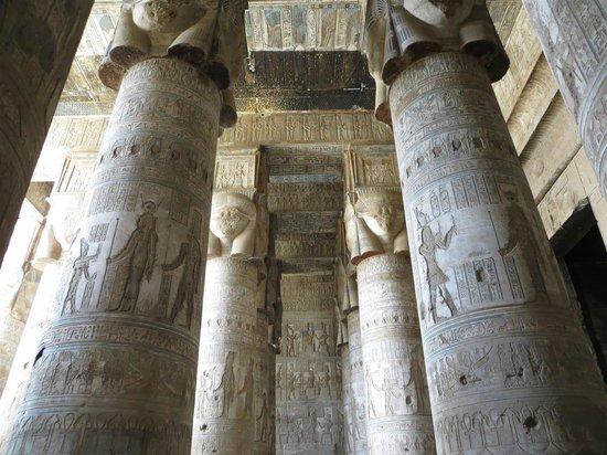 Nile River: Beautiful columns at Dandara