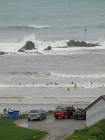 The Beach at Bude: Summerlease beach - surfers (Life's a Beach restaurant in corner)