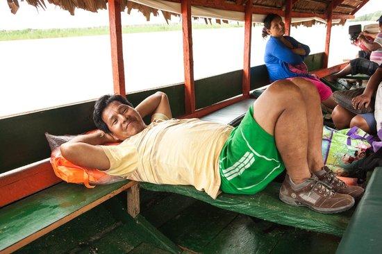 Libertad Jungle Lodge: Quick nap between Libertad and Nauta (courtesy Connie Tsang)