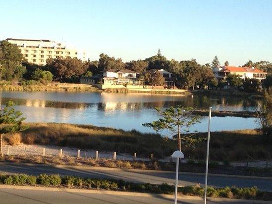 Seashells Mandurah: View across to the road and lagoon