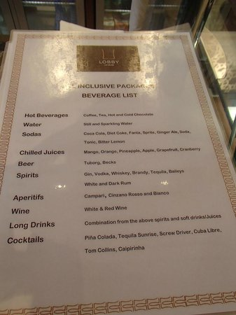 DoubleTree by Hilton Resort & Spa Marjan Island: All inclusive drinks menu (Baileys is also included)