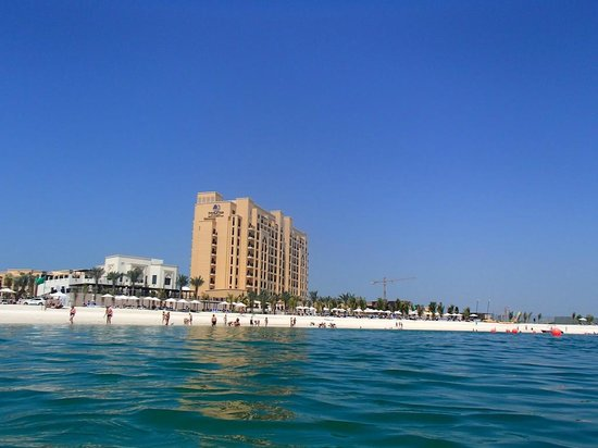 DoubleTree by Hilton Resort & Spa Marjan Island: View of hotel and private beach from 200 feet in sea