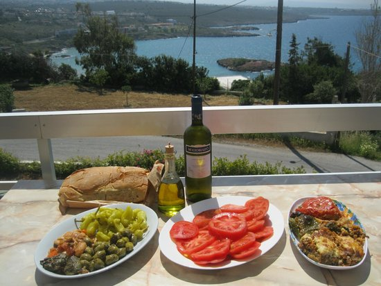 Villas Michalis: View from balcony of our villa; food from the local market