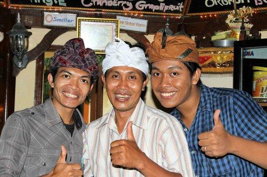 Bali Shangrila Beach Club: The friendly staff - Putu, G'day & Sueca.