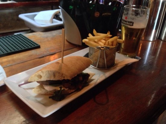 The Hole in the Wall : Steak sandwich, Heineken as well.
