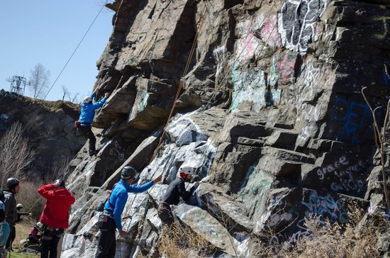 Quincy Quarries: Rock climbers in full gear