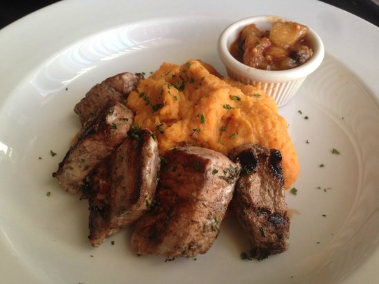 Four Seasons Bistro : Jamaican Pork Tenderloin with whipped herb sweet potatoes and pear chutney