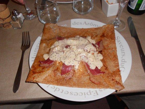 Restaurant La crêperie des oursons : crêpe au magret et moutarde à l'ancienne