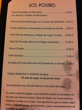 Salles Hotel La Caminera Golf & Spa Resort: Carta postres