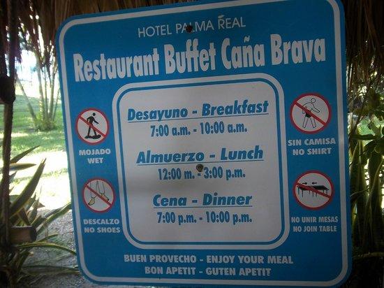 Palma Real Beach Resort & Villas: Buffet hours