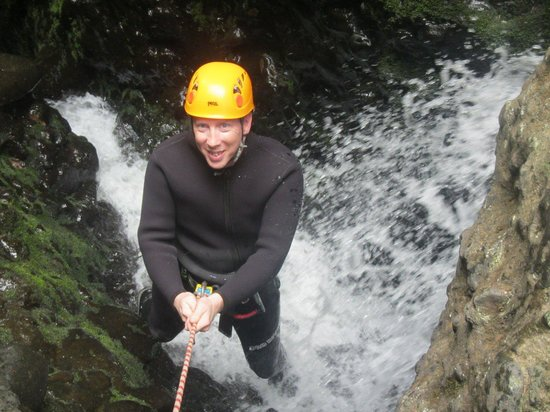 AWOL Canyoning Adventures : abseiling down a waterfall