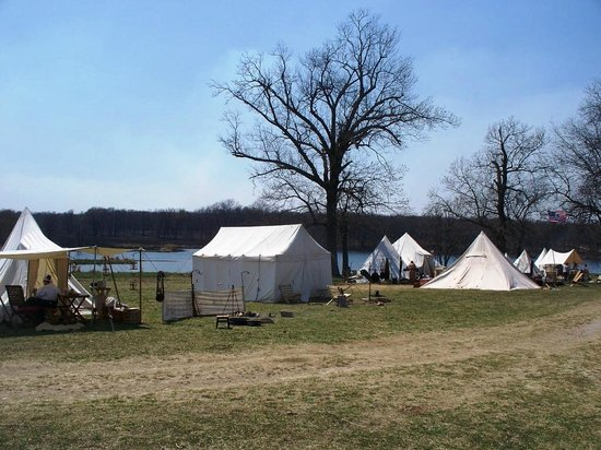 Woolaroc Museum & Wildlife Preserve: encampment on the lake