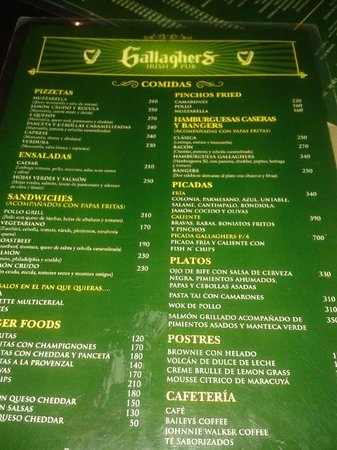 Gallagher's Irish Pub: cardapio