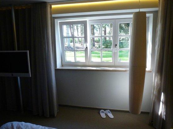 La Butte Aux Bois Hostellerie: The window in the basement room