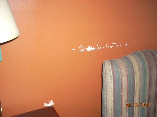 Raceway Inn: Paint coming off the wall