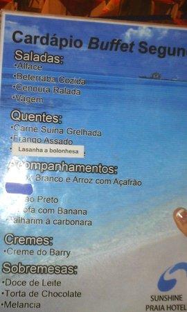 Sunshine Praia Hotel: Cardápio do Jantar