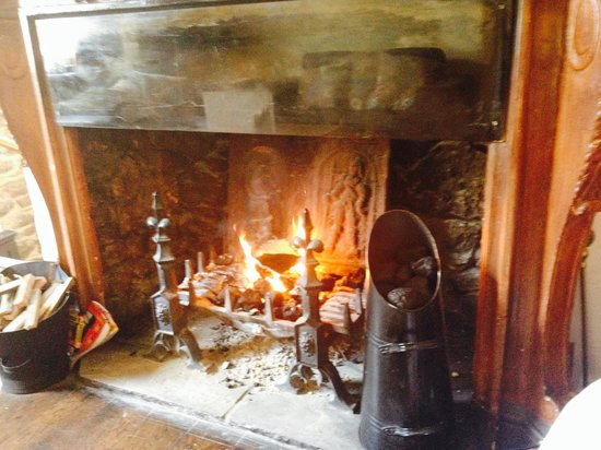 Ye Olde Nags Head: The log fire at the nags