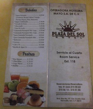 Hotel Plaza Del Sol: Menu du restaurant de l'hôtel.