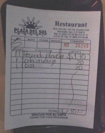 Hotel Plaza Del Sol: Restaurant: Souper 210 pesos.