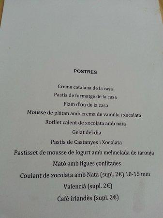 Vora Estany : La carta de postre, donde se observa los suplementos
