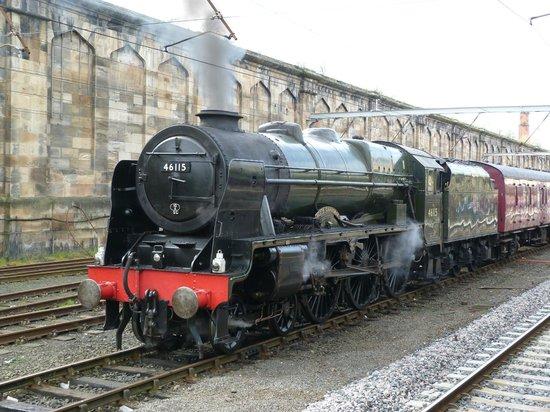The Railway Touring Company: The locomotive Scots Guardsman at Carlisle on the train
