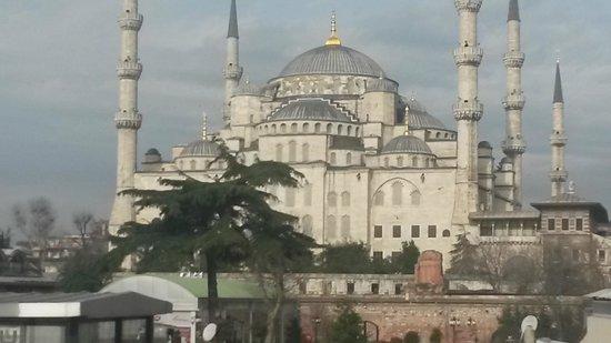 Angel's Home Hotel : Utsikt från takterassen mot blå mosken