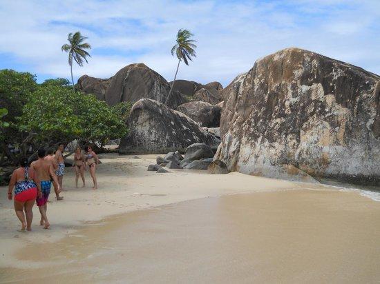 On the beach at The Baths
