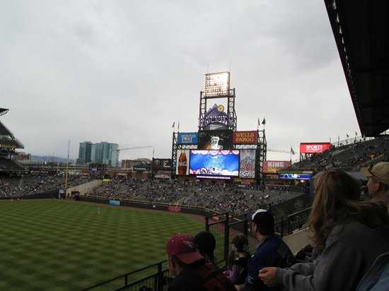 Scoreboard at Coors Field gives all info you need