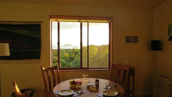Abel Tasman Ocean View Chalets : View from living area/kitchen