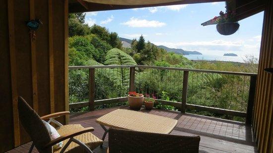 Abel Tasman Ocean View Chalets : View from premium chalet