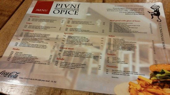 Pivni Opice : English menu