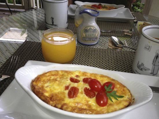 The Addison on Amelia Island: One of our gourmet breakfasts with fresh squeezed OJ.