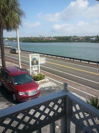 Sun N Fun Beachfront Vacation Rentals: View of inter coastal water from deck.