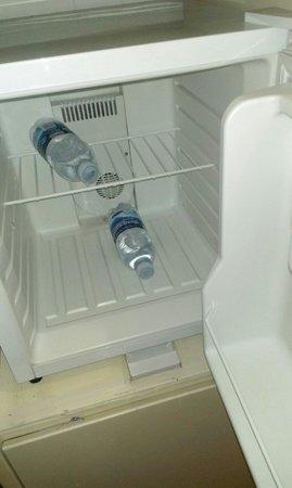 Hotel La Meridienne: Frigo piccolo e non funzionante, due bottigliette d'acqua che non vengono sostituite