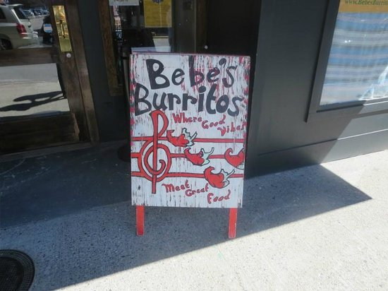 Bebe's Burritos and Cantina: Welcome sign