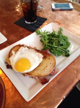 """Cascades Restaurant at the Stanley Hotel: Griddled Ham & Cheese. The best !""""Gruyere cheese, prosciutto de parma, white truffle butter, fa"""