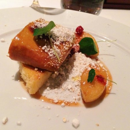 Toqué! : Foie gras on toast with flambeed apples and crumbled popcorn