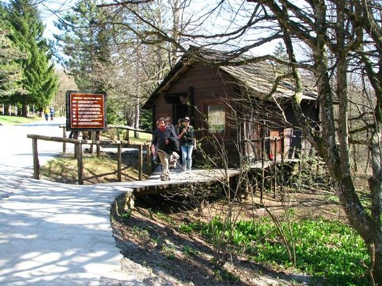 Park entrance/exit, where you buy your passes, catch the shuttles. Just steps from Hotel Jezero.