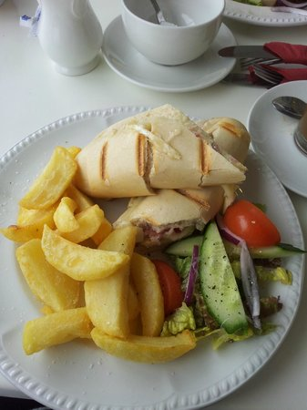 Springfield Hotel & Health Club: brie and cranberry panini with homemade chunky chips